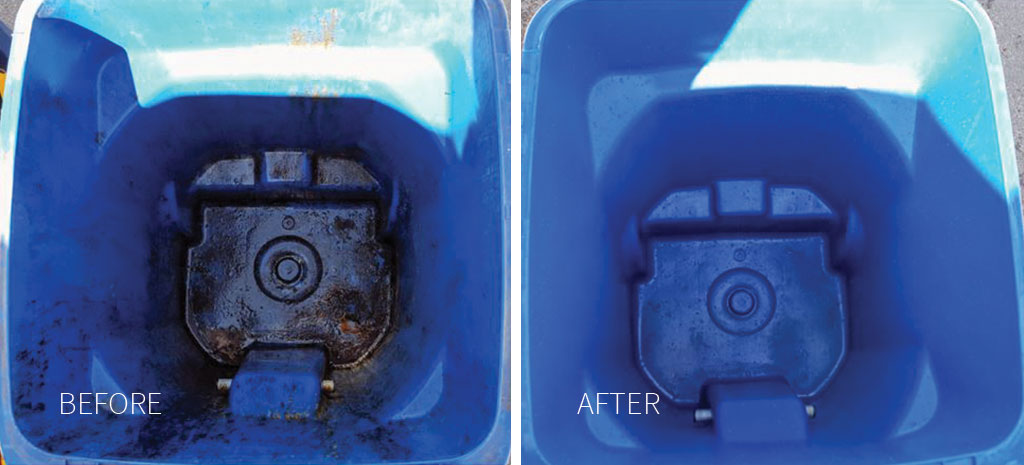 Before and after photos of bin cleaning